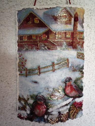 Uccellini sul steccato venduta tegole decorate in - Tegole decorate in rilievo ...