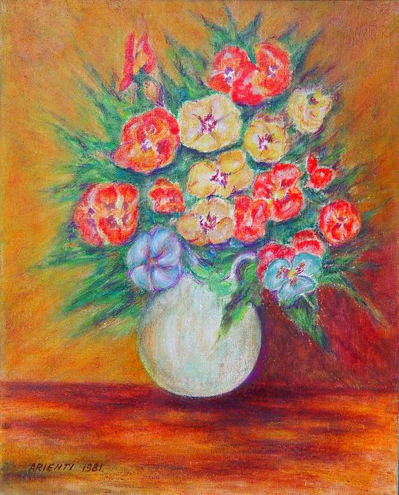 Vaso di fiori 4 pastelli a cera 40x50 alcuni vecchi for Immagini di quadri con fiori